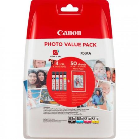 Komplet barvnih kartuš Canon CLI-581 XL + Foto papir / Original