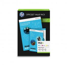 Komplet barvnih kartuš HP 953 XL + Foto papir / Office Value Pack / Original